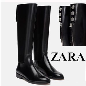 Zara Faux Patent Knee High Boots_